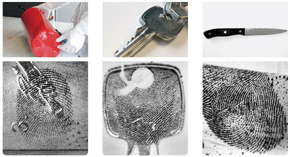 Fingerabdrücke auf Metallen