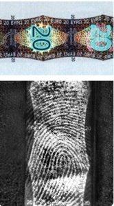 Fingerabdrücke auf Hologramm