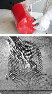 Latent prints on extinguisher