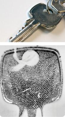 latenter Fingerabdruck auf Schlüssel mit EVISCAN gesichert