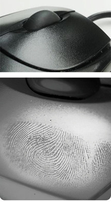 fingerprint on computer mouse detected with eviscan