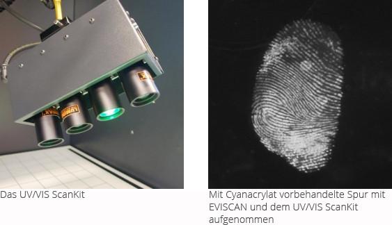 vorbehandelte und saugende Asservate mit UV/VIS Scankit untersucht