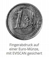 Fingerabdruck auf Euro-Münze mit EVISCAN gesichert