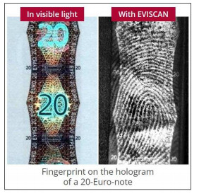 latent fingerprint on twenty euro bank note hologram detected with eviscan