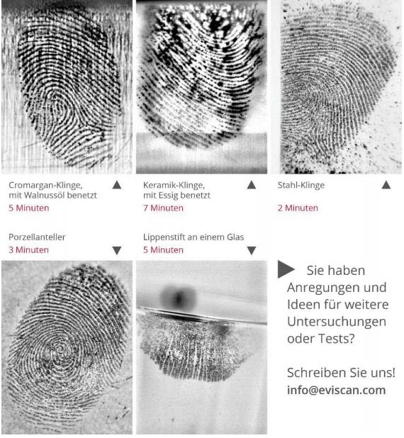 latente Fingerabdrücke auf Küchenutensilien