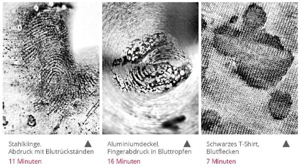mit EVISCAN gesicherte Fingerabdrücke in Bluttropfen und Blutflecke