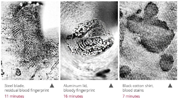 bloody fingerprints and stains detected with eviscan