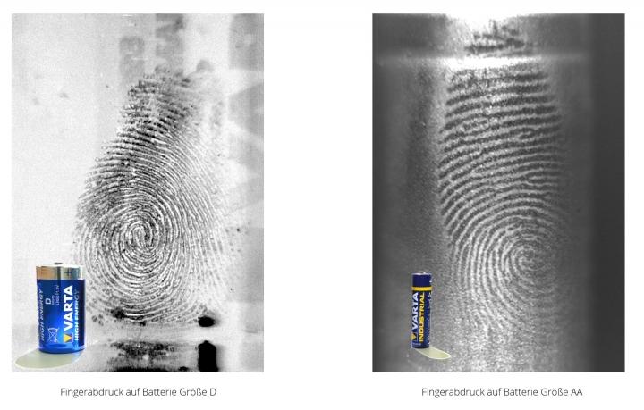 Fingerabdruck auf Batterie (Größe D und AA)