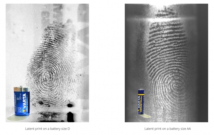 fingerprints on batteries detected with eviscan