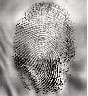 soot-covered latent fingerprint revealed with EVISCAN