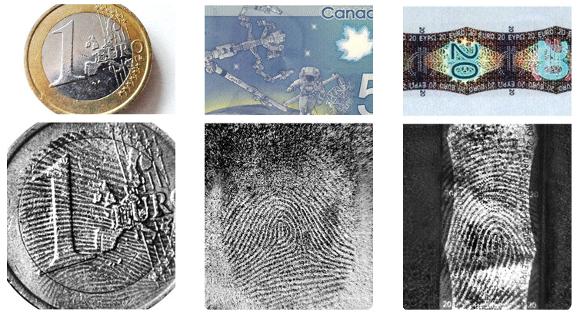 Fingerabdrücke auf Banknoten und Münzen