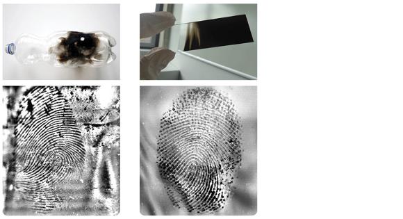 Fingerabdrücke auf Objekten unter Ruß
