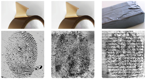 Latent prints on adhesive tape